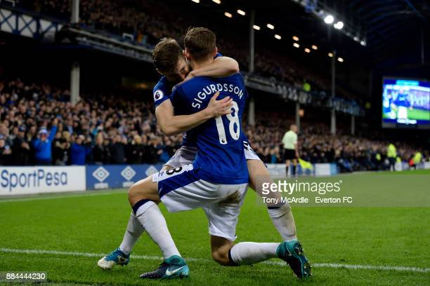 Gylfi Sigurdsson celebrates his goal with Jonjoe Kenny during the Premier League match between Everton and Huddersfield Town at Goodison Park on...