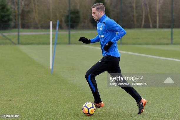 Gylfi Sigurdsson during the Everton FC training session at USM Finch Farm on February 21 2018 in Halewood England