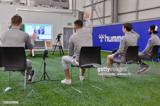 Gylfi Sigurdsson Mason Holgate Seamus Coleman and Andre Gomes speak to a young Everton Fan as they take part in virtual visit to Alder Hey Children's...