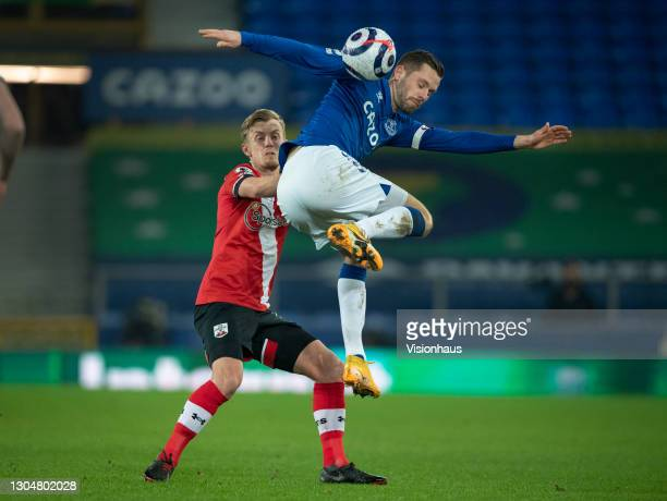 Gylfi Sigurdsson of Everton and James Ward-Prowse of Southampton in action during the Premier League match between Everton and Southampton at...
