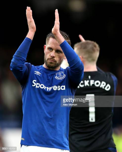 Gylfi Sigurdsson of Everton applauds fans after the Premier League match between Everton and Brighton and Hove Albion at Goodison Park on March 10...