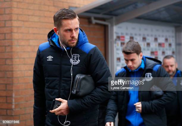 Gylfi Sigurdsson of Everton arrives prior to the Premier League match between Burnley and Everton at Turf Moor on March 3 2018 in Burnley England