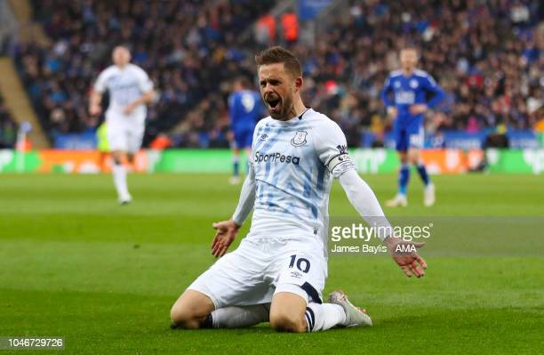 Gylfi Sigurdsson of Everton celebrates after scoring a goal to make it 12 during the Premier League match between Leicester City and Everton FC at...