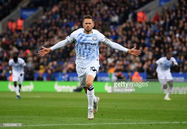 Gylfi Sigurdsson of Everton celebrates after scoring during the Premier League match between Leicester City and Everton FC at The King Power Stadium...