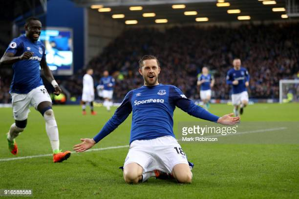 Gylfi Sigurdsson of Everton celebrates after scoring his sides first goal during the Premier League match between Everton and Crystal Palace at...