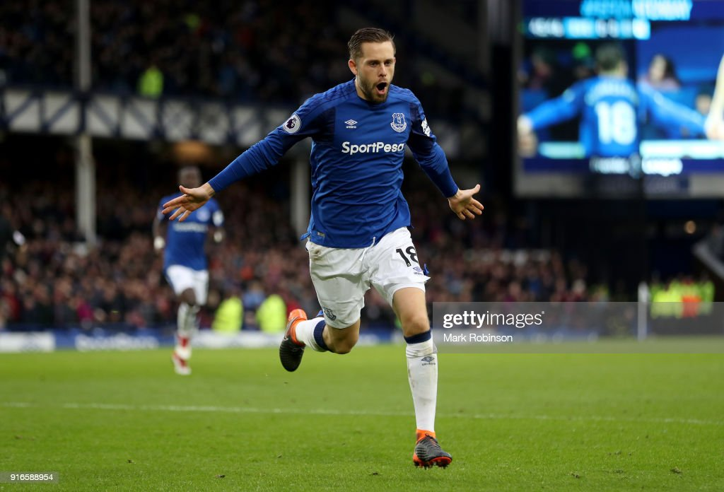 Gylfi Sigurdsson of Everton celebrates after scoring his sides first goal during the Premier League match between Everton and Crystal Palace at Goodison Park on February 10, 2018 in Liverpool, England.