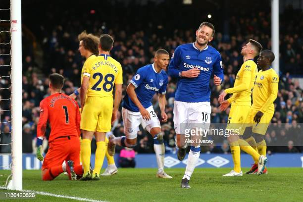 Gylfi Sigurdsson of Everton celebrates after scoring his sides second goalduring the Premier League match between Everton FC and Chelsea FC at...