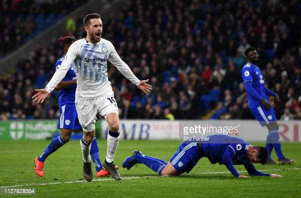 Gylfi Sigurdsson of Everton celebrates after scoring his team's first goal during the Premier League match between Cardiff City and Everton FC at...