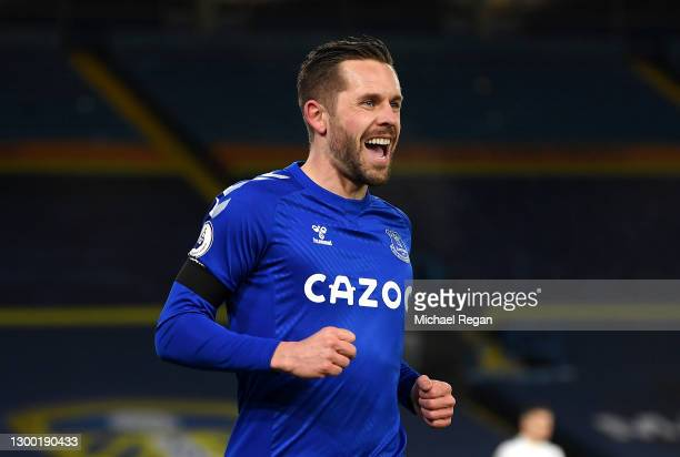 Gylfi Sigurdsson of Everton celebrates after scoring their side's first goal during the Premier League match between Leeds United and Everton at...