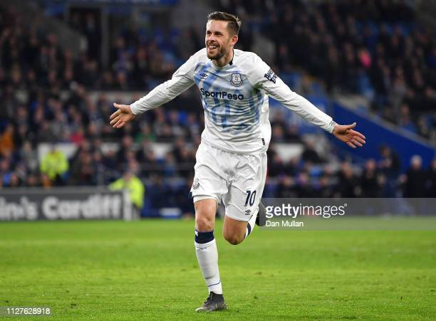 Gylfi Sigurdsson of Everton celebrates as he scores his team's second goal during the Premier League match between Cardiff City and Everton FC at...