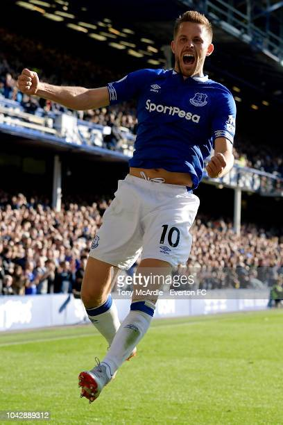 Gylfi Sigurdsson of Everton celebrates his goal during the Premier League match between Everton and Fulham at Goodison Park on September 29 2018 in...