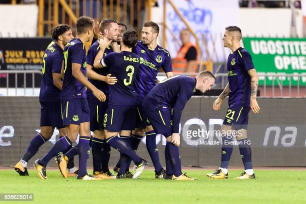 Gylfi Sigurdsson of Everton celebrates his goal during the UEFA Europa League Qualifying PlayOffs round second leg between Hajduk Split and Everton...