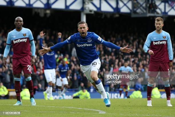 Gylfi Sigurdsson of Everton celebrates scoring his team's second goal during the Premier League match between Everton FC and West Ham United at...