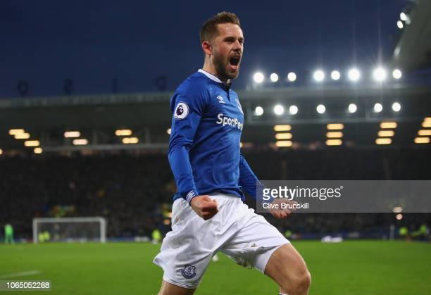 Gylfi Sigurdsson of Everton celebrates scoring his teams winning goal during the Premier League match between Everton FC and Cardiff City at Goodison...