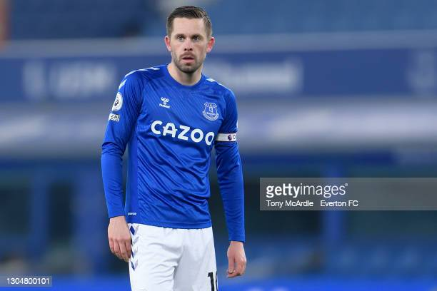 Gylfi Sigurdsson of Everton during the Premier League match between Everton and Southampton at Goodison Park on March 2021 in Liverpool, England.