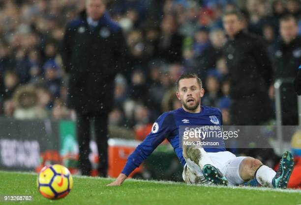 Gylfi Sigurdsson of Everton during the Premier League match between Everton and Leicester City at Goodison Park on January 31 2018 in Liverpool...
