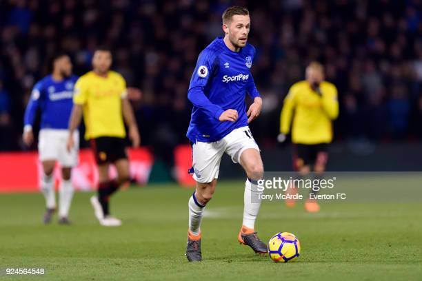 Gylfi Sigurdsson of Everton during the Premier League match between Watford and Everton at Vicarage Road on February 24 2017 in Liverpool England