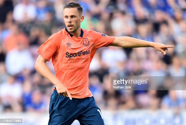 Gylfi Sigurdsson of Everton gestures during the PreSeason Friendly match between Wigan Athletic and Everton at DW Stadium on July 24 2019 in Wigan...