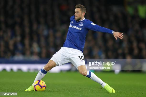 Gylfi Sigurdsson of Everton in action during the Premier League match between Everton FC and Watford FC at Goodison Park on December 10 2018 in...