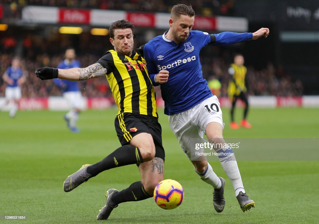 Gylfi Sigurdsson Of Everton Is Challenged By Daryl Janmaat