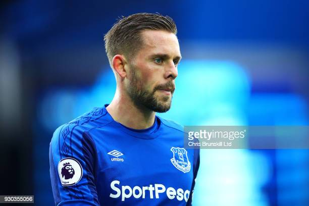 Gylfi Sigurdsson of Everton looks on during the Premier League match between Everton and Brighton and Hove Albion at Goodison Park on March 10 2018...
