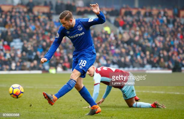 Gylfi Sigurdsson of Everton passes the ball during the Premier League match between Burnley and Everton at Turf Moor on March 3 2018 in Burnley...