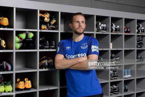 Gylfi Sigurdsson of Everton poses for a photo at USM Finch Farm on September 29 2017 in Halewood England