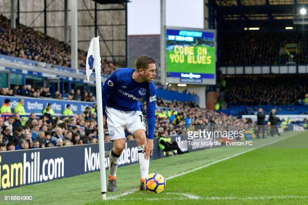 Gylfi Sigurdsson of Everton prepares to take a corner during the Premier League match between Everton and Crystal Palace at Goodison Park on February...
