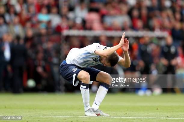 Gylfi Sigurdsson of Everton reacts during the Premier League match between AFC Bournemouth and Everton FC at Vitality Stadium on August 25 2018 in...