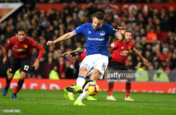 Gylfi Sigurdsson of Everton scores his teams first goal from the penalty spot during the Premier League match between Manchester United and Everton...