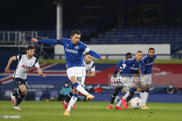 Gylfi Sigurdsson of Everton scores their side's third goal from the penalty spot during The Emirates FA Cup Fifth Round match between Everton and...