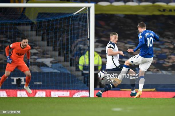 Gylfi Sigurdsson of Everton scores their team's second goal during the Premier League match between Everton and Tottenham Hotspur at Goodison Park on...