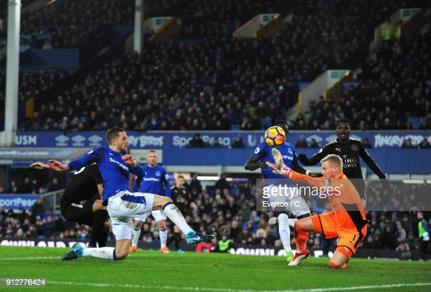 Gylfi Sigurdsson of Everton shoots at goal during the Premier League match between Everton and Leicester City at Goodison Park on January 31 2018 in...