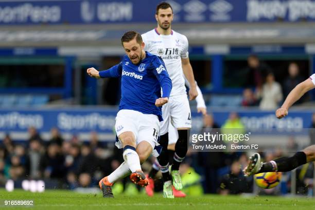 Gylfi Sigurdsson of Everton shoots to score during the Premier League match between Everton and Crystal Palace at Goodison Park on February 10 2018...