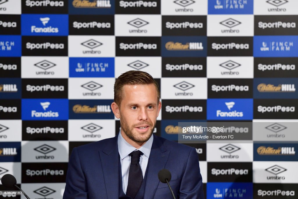 Gylfi Sigurdsson of Everton speaks to the press at USM Finch Farm on August 18, 2017 in Halewood, England.