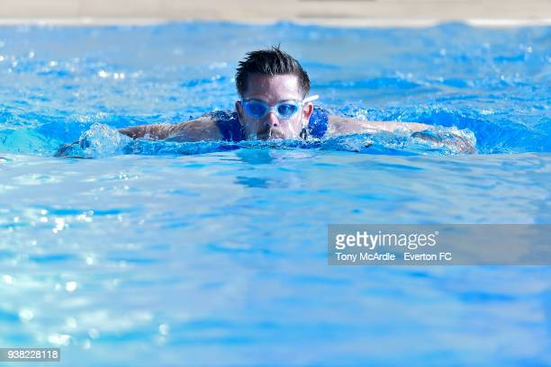Gylfi Sigurdsson of Everton swims during his recovery from knee injury at USM Finch Farm on March 21 2018 in Halewood England