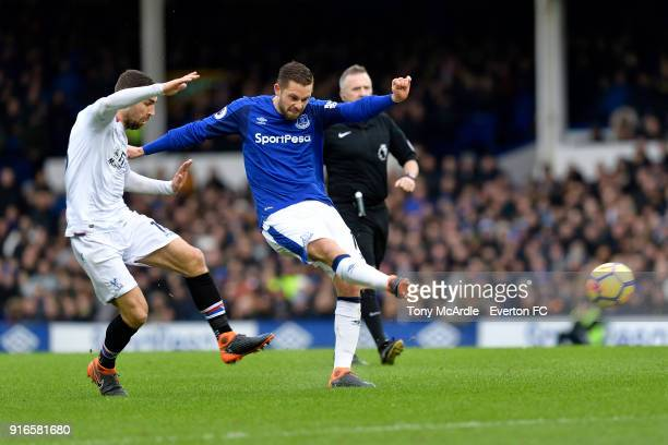Gylfi Sigurdsson of Everton with a chance on goal during the Premier League match between Everton and Crystal Palace at Goodison Park on February 10...