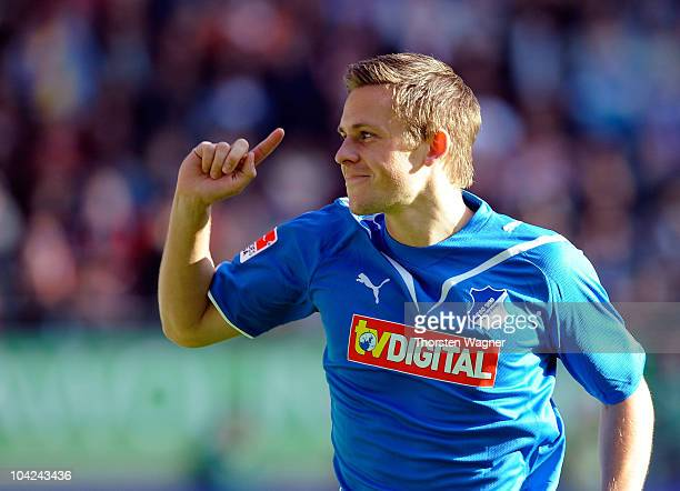 Gylfi Sigurdsson of Hoffenheim celebrates after scoring the 22 during the Bundesliga match between 1FC Kaiserslautern and TSG 1899 Hoffenheim at...