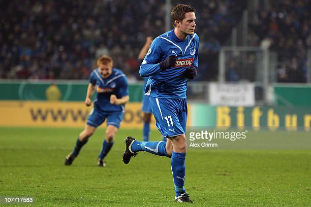 Gylfi Sigurdsson of Hoffenheim celebrates his team's first goal during the DFB Cup round of sixteen match between 1899 Hoffenheim and Borussia...