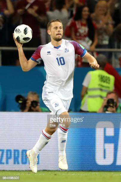 Gylfi Sigurdsson of Iceland celebrates after scoring a penalty for his team's first goal during the 2018 FIFA World Cup Russia group D match between...