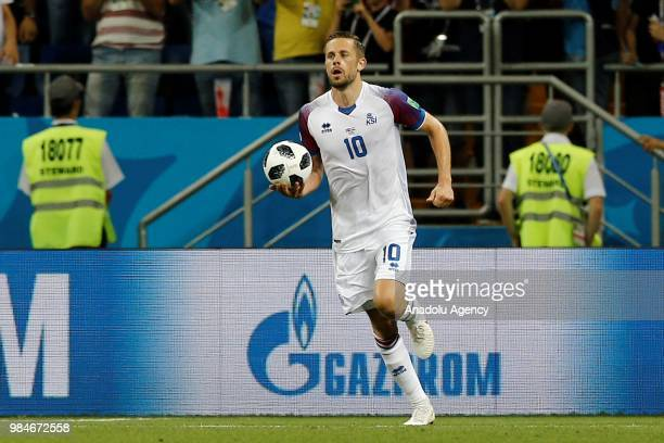 Gylfi Sigurdsson of Iceland gestures during the 2018 FIFA World Cup Russia Group D match between Iceland and Croatia at the Rostov Arena in Rostov On...