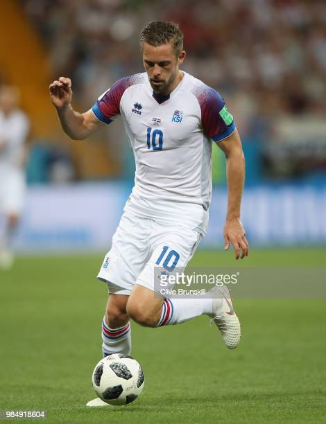Gylfi Sigurdsson of Iceland in action during the 2018 FIFA World Cup Russia group D match between Iceland and Croatia at Rostov Arena on June 26 2018...