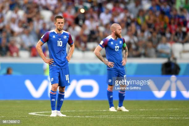 Gylfi Sigurdsson of Iceland lokks dejected during the 2018 FIFA World Cup Russia group D match between Nigeria and Iceland at Volgograd Arena on June...