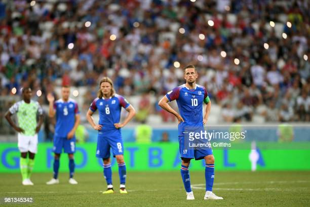 Gylfi Sigurdsson of Iceland looks dejected during the 2018 FIFA World Cup Russia group D match between Nigeria and Iceland at Volgograd Arena on June...