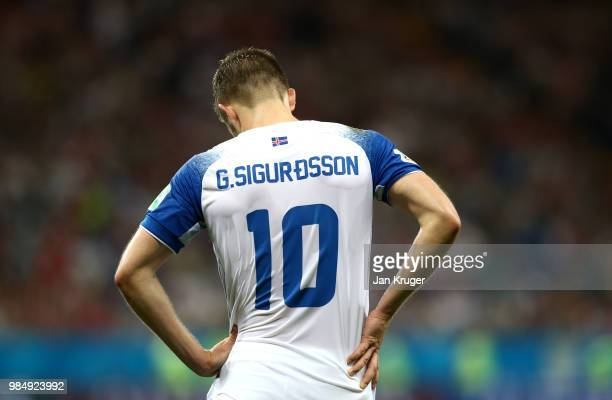 Gylfi Sigurdsson of Iceland looks dejected during the 2018 FIFA World Cup Russia group D match between Iceland and Croatia at Rostov Arena on June 26...