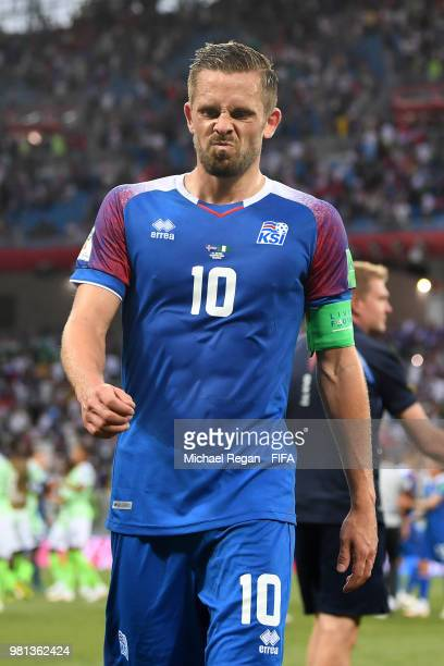 Gylfi Sigurdsson of Iceland looks dejected following his sides defeat in the 2018 FIFA World Cup Russia group D match between Nigeria and Iceland at...