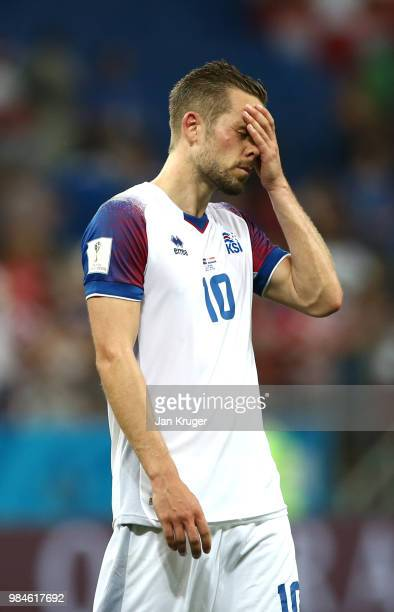 Gylfi Sigurdsson of Iceland looks dejected following his sides defeat in the 2018 FIFA World Cup Russia group D match between Iceland and Croatia at...