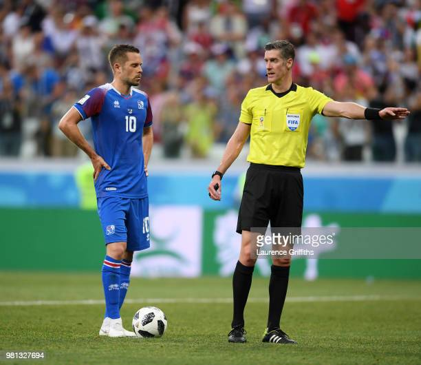 Gylfi Sigurdsson of Iceland looks on before missing the penalty during the 2018 FIFA World Cup Russia group D match between Nigeria and Iceland at...
