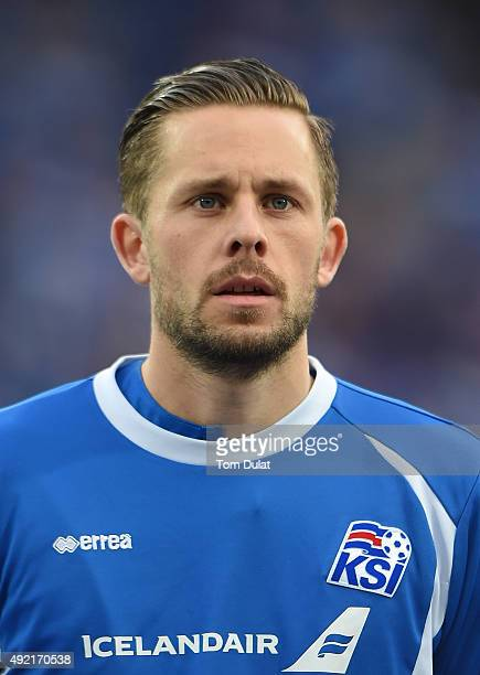 Gylfi Sigurdsson of Iceland looks on during the UEFA EURO 2016 Qualifier match between Iceland and Latvia at Laugardalsvollur National Stadium on...