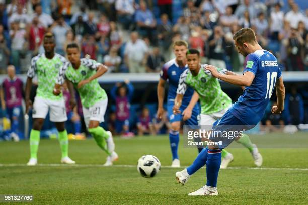 Gylfi Sigurdsson of Iceland misses a penalty during the 2018 FIFA World Cup Russia group D match between Nigeria and Iceland at Volgograd Arena on...